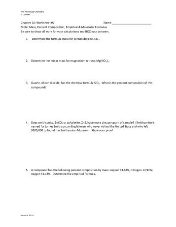 Percent Composition And Chemical Formulas Worksheet Answers ...
