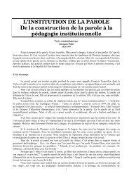 L'INSTITUTION DE LA PAROLE - SITE Patrick ROBO - Free