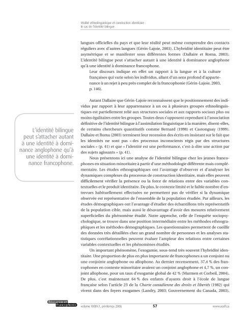 Vitalité ethnolinguistique et construction identitaire - acelf