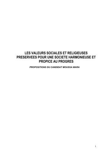 les valeurs sociales et religieuses 6 preservees pour - Moussa MARA
