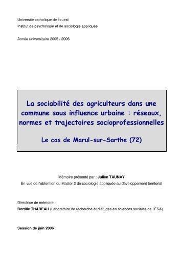 La sociabilité des agriculteurs dans une com m une sous ... - Vintage