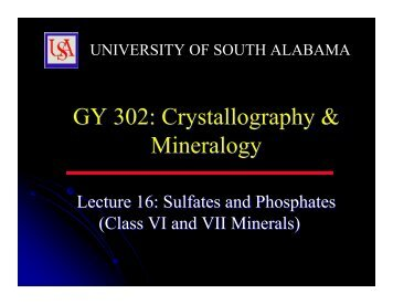 GY 302: Crystallography & Mineralogy GY 302: Crystallography ...