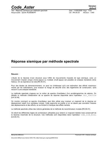 [R4.05.03] Réponse sismique par méthode spectrale - Code_Aster