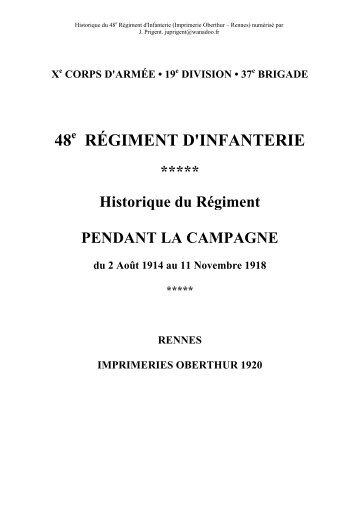 Historique du 48e Régiment d'Infanterie - Ancestramil