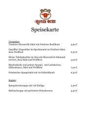 Salate und kleine Gerichte - Fränkisches Gasthaus Roter Ochs