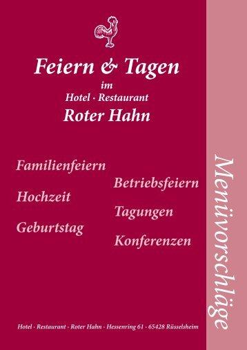 Menüvorschläge, pdf - Roter Hahn - Restaurant Hotel Rüsselsheim