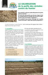 LA VALORISATION de la paille des céréales contre du fumier