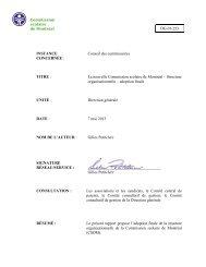 DG-01-253 INSTANCE Conseil des commissaires CONCERNÉE ...