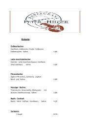 Eiskarte - Restaurant Peter Hilger