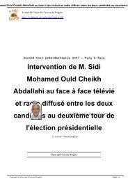 Intervention de M. Sidi Mohamed Ould Cheikh ... - Ufpweb.org