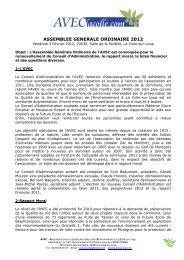 ASSEMBLEE GENERALE ORDINAIRE 2012 - AVECLaColle