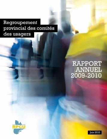 rapport annuel 2009-2010 - Regroupement provincial des comités ...