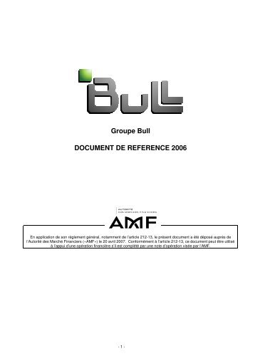 Groupe Bull : Document de Référence 2006