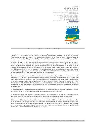 GUYANE - Inventaire général du patrimoine culturel