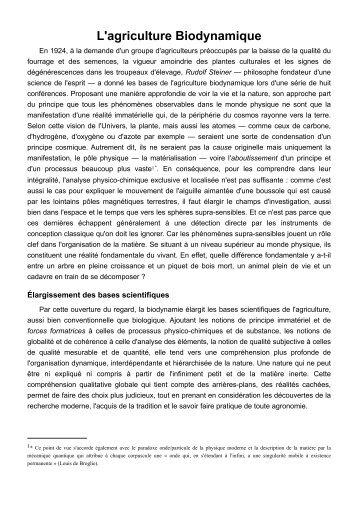 L'agriculture Biodynamique - Vernoux.org