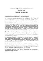 Discours à l'inauguration de l'année Universitaire 2012 ... - Gr.T. Popa