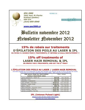 Bulletin novembre 2012 Newsletter November 2012 - SPA 2000