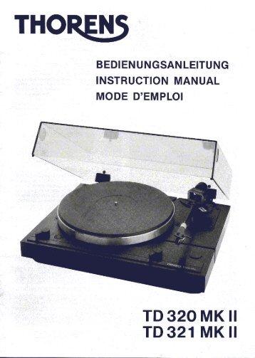 Plattenspieler Thorens TD320MKII - deutsch