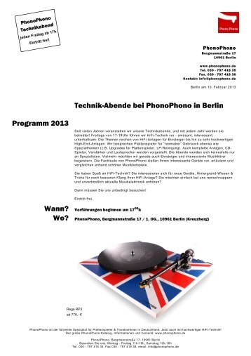Technik-Abende bei PhonoPhono in Berlin Programm 2013