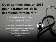 Où en sommes-nous en 2012 pour le traitement de la ... - Revivre