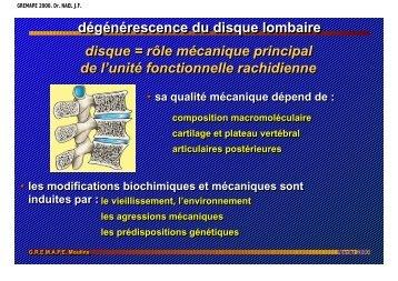 dégénérescence du disque lombaire, physiopathologie.
