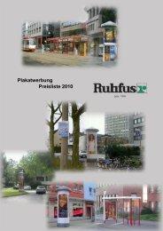 Plakatwerbung Preisliste 2010 - Ruhfus