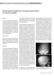 Plagiocéphalie postérieure d'origine positionnelle: Un mal de société?