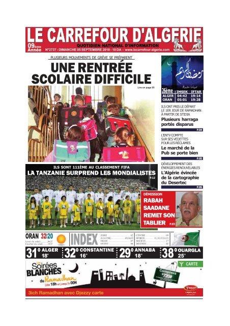 Une Rentrée Scolaire Difficile Le Carrefour Dalgérie