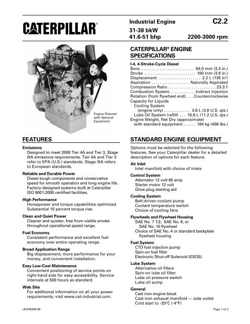 CATERPILLAR® ENGINE SPECIFICATIONS Industrial Engine 31 ...
