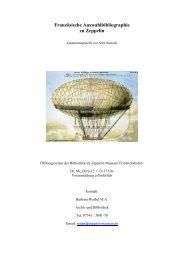 Französische Auswahlbibliographie zu Zeppelin - Zeppelin Museum
