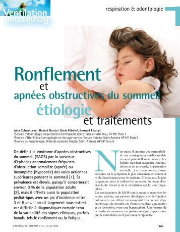 Ronflement - Information dentaire