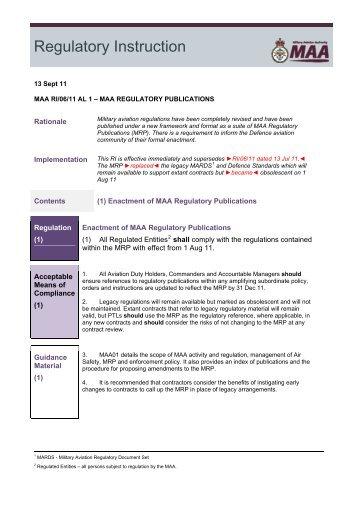MAA/RI/06/11 (DG) - Military Aviation Authority