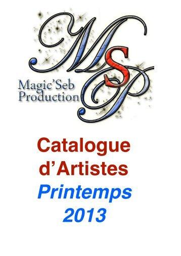 CATALOGUE Printemps 2013 - magicsebproduction.fr