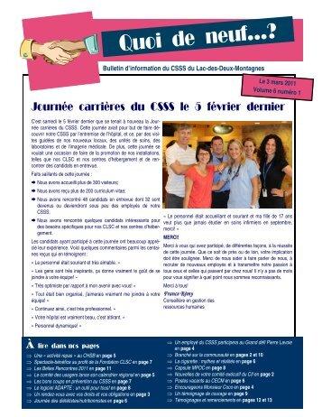 Volume 6 numéro 1 - Centre de santé et de services sociaux du Lac ...