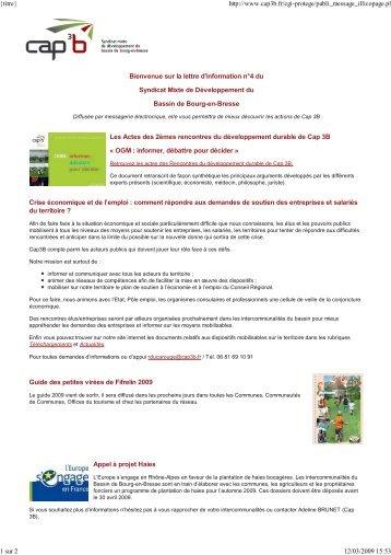 Bienvenue sur la lettre d'information n°4 du Syndicat Mixte ... - Cap 3B