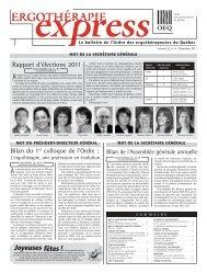 Numéro de décembre 2011 - Ordre des ergothérapeutes du Québec