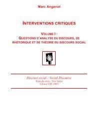 Interventions critiques (Volume I) : Questions d ... - Marc Angenot