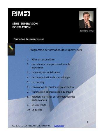 Formation des superviseurs - PIERRE JUTRAS MANAGEMENT INC.