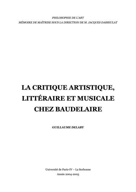 La Critique Artistique Littéraire Et Musicale Chez