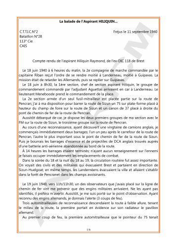 Juin-août 1940 : La balade de l'aspirant Hiliquin - Anciens du RICM