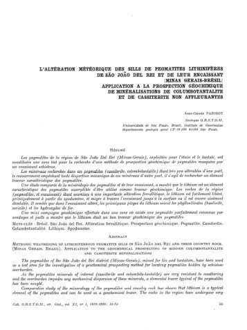 L'altération météorique des sills de pegmatites lithinifères de ... - IRD