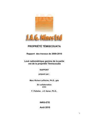 Levé radiométrique gamma - Les Mines JAG Ltée