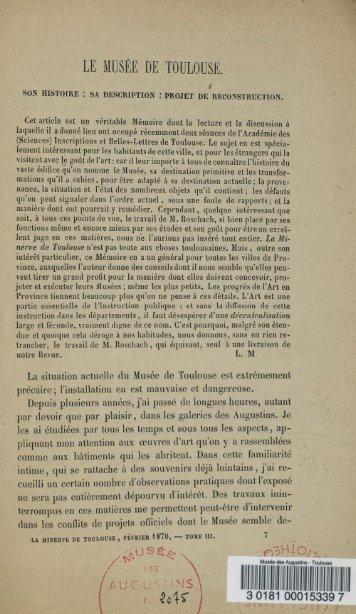 Catalogue de 1870 par Roschach - Musée des Augustins