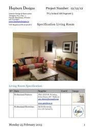 Specification Living Room Segment 5 - Hepburn Designs