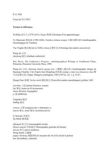 P.-E. Will Cours du 23/1/2013 Termes et références Xu Rijiu 徐日久 ...