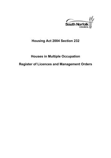 The register of Property Licences [PDF, 34 Kb] - South Norfolk Council