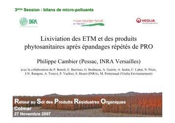 Lixiviation des ETM et des produits phytosanitaires après ... - SMRA68