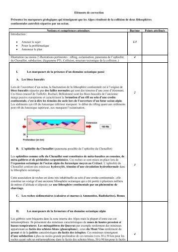 Eléments de correction Présentez les marqueurs géologiques qui ...