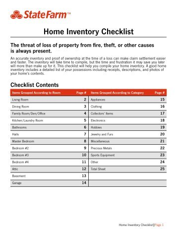 personal property inventory checklist state auto. Black Bedroom Furniture Sets. Home Design Ideas