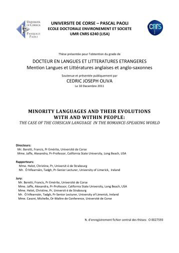 DOCTEUR EN LANGUES ET LITTERATURES ETRANGERES ...